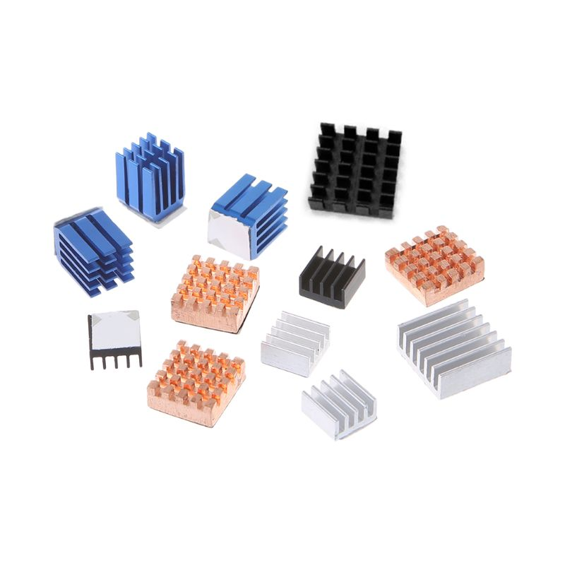 12 Pcs/Set Heat Sink Aluminum Copper Radiator Cooler Kit For Raspberry Pi 2 / 3 E65A