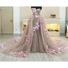 Saudi Arabic Crystal 2 Pieces Evening Dresses With Detachabl