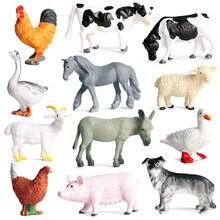 Novo 12 pçs/lote mini fazenda aves animais figuras de ação simulação modelo porco pato galinha ganso cavalo vaca cão cabra urso role play brinquedo