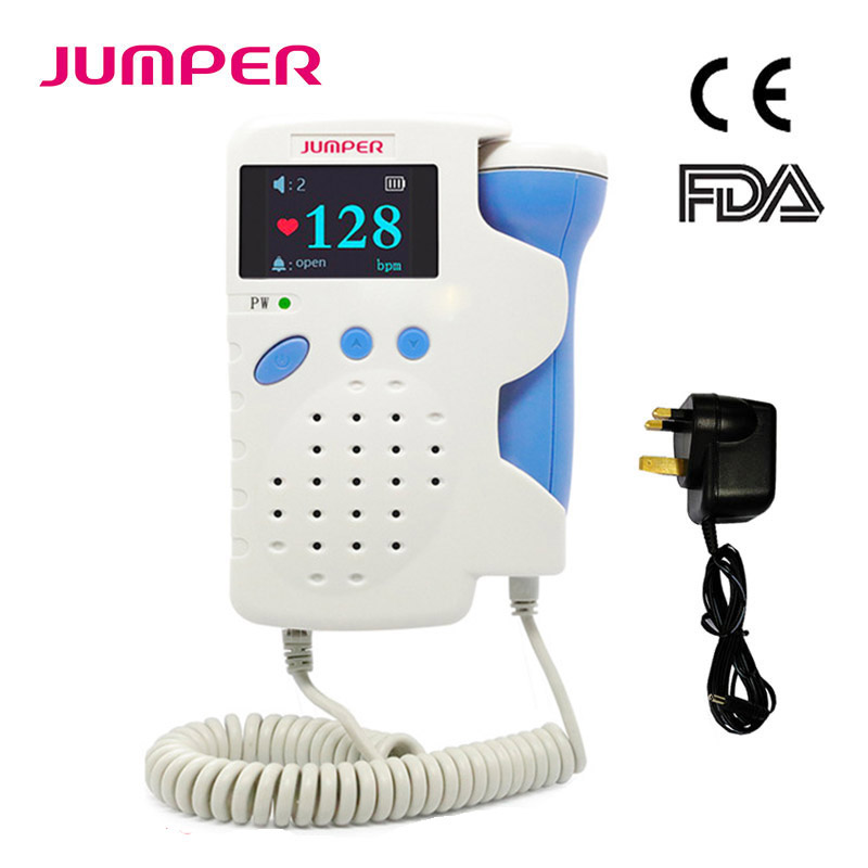 Doppler Fetal Heart rate Monitor Home Pregancy Baby&Fetal Sound Heart Rate Detector Color LCD Curve Display No Radiation 3.0MHz(China)