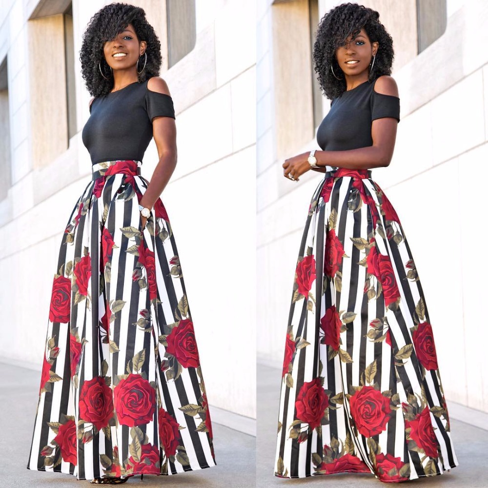 Summer Women Maxi Long <font><b>Skirts</b></font> Black <font><b>Sexy</b></font> Tops Two Pieces Fashion Ladies Female Floral <font><b>Skirts</b></font> Black Tops Vestidos <font><b>Plus</b></font> <font><b>Size</b></font> 5XL image