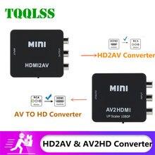 TQQLSS AV À compatibles HDMI Convertisseur AV À HD-MI Convertisseur Adaptateur Mini Composite CVBS À HD AV2HD Convertisseur Audio AV2HD