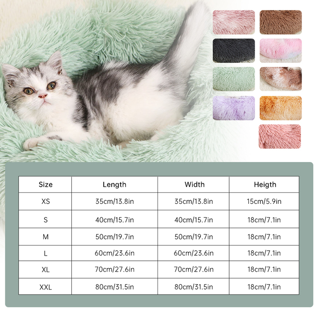 Round Plush Dog Bed House Dog Mat Winter Warm Sleeping Cats Nest Soft Long Plush Dog Basket Pet Cushion Portable Pets Supplies 2