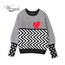 2020 סתיו חורף נשים סוודרים גיאומטרי לב דפוס ארוך שרוול חולצות יפה סרוג Loose Jumper C 005