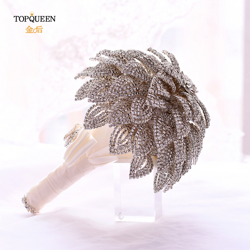 TOPQUEEN HF01 Stunning Diamond Wedding Bouquet High Quality Bouquet Silver Brooch Bouquet Wedding Accessories Jewelry Bouquet