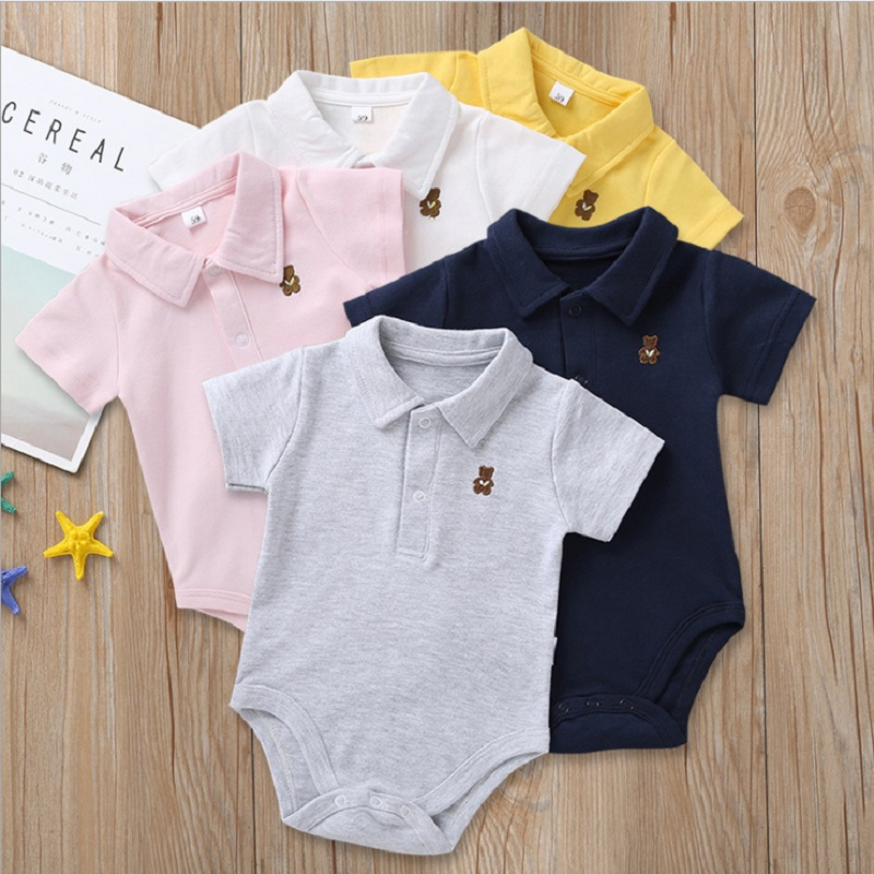 Newborn Baby Boy Girl Romper 0 12 Months 2020 Summer Solid 3 Colors Polo Infant Baby Clothes jumpsuit new born Bebies Roupas