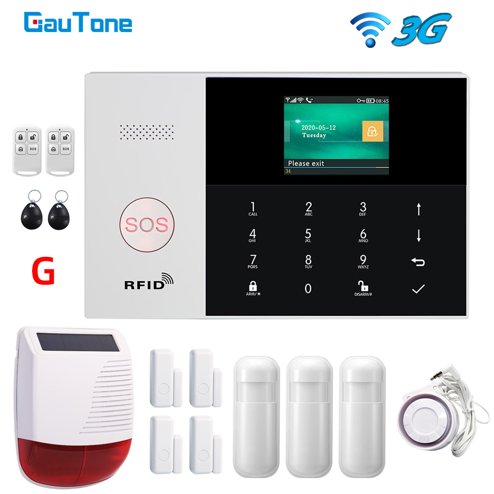 GauTone 433MHz PG105 Smart Home Wifi 3G Security Alarm System with Motion Sensor Wireless Siren Remote Control