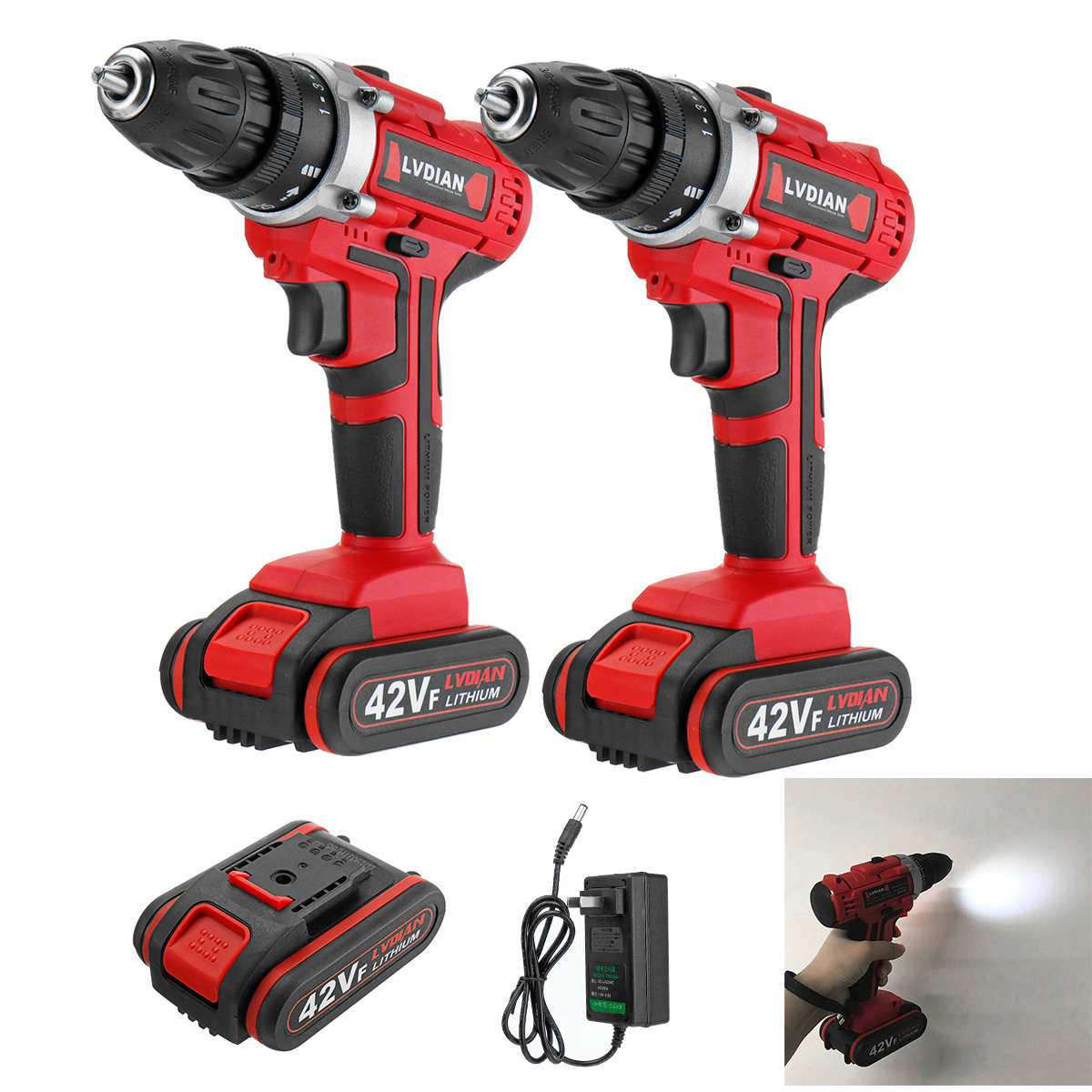 42V Electric Drill Wireless Screwdriver Smart 25+1 Torque Drill 2-Speed DIY Power Tools Waterproof With LED Work Light