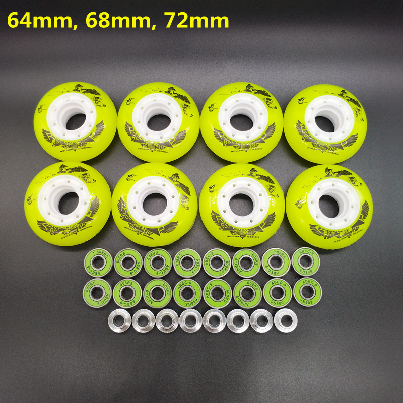 Free Shipping Children Roller Wheels Skates Wheel 64 Mm 68 Mm 72 Mm 8 Pcs/lot