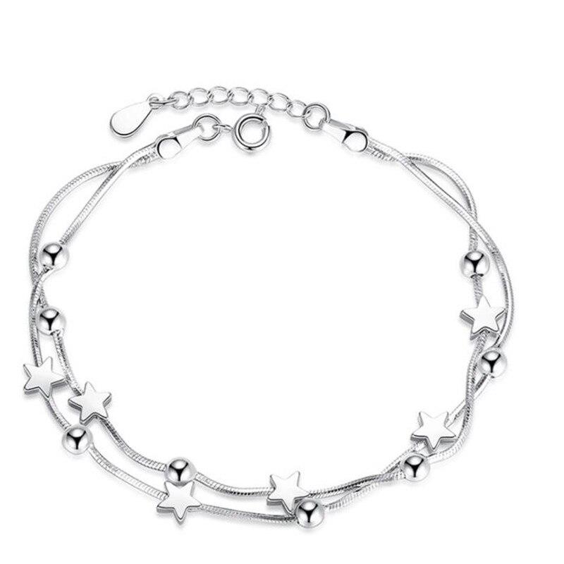925 марка стерлингового серебра ювелирные изделия женские шарма бусины браслет в стиле ретро, на квадратном простой звезда браслет друзей по...