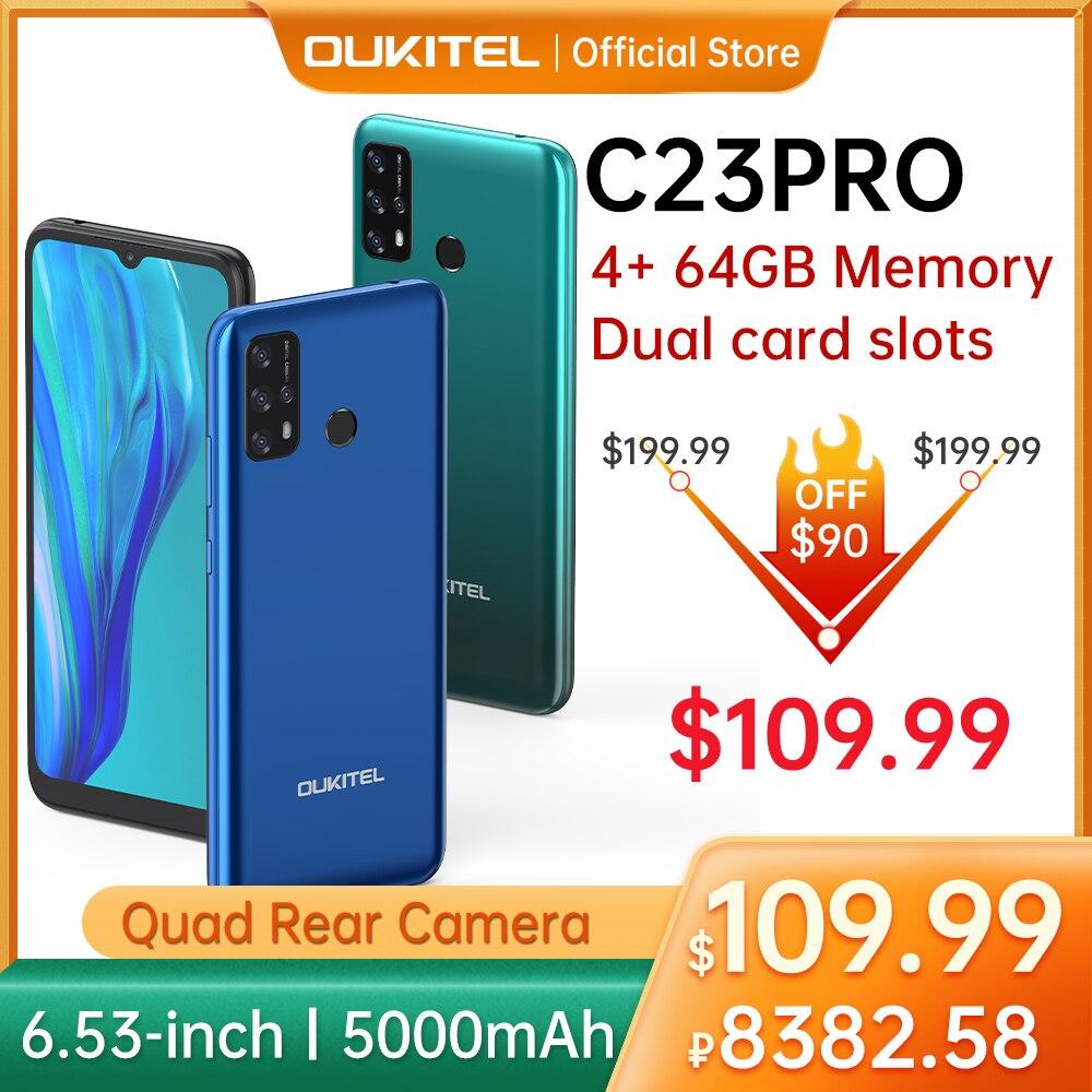 Oukitel C23pro 4 аппарат не привязан к оператору сотовой связи смартфон 4 Гб + 64 Гб 6,53 дюймов 5000 мА/ч, MT6762V/ВБ Android 10,0 мобильный телефон 8/13 Камера смарт-...