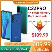 Oukitel c23pro 4g lte smartphone 4gb + 64gb 6.53 polegada 5000mah mt6762v/wb android 10.0 telefone móvel 8pm/13pm câmera telefone inteligente
