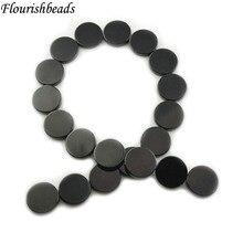 """1 прядь черный оникс двойной плоский круглый камень """"монета"""" класса АА черный камень свободные бусины 14 мм 16 мм 18 мм 20 мм"""