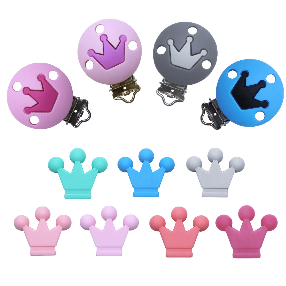 BOBO.BOX 2Pc Crown Silicone Beads Pacifier Clip DIY Teething Necklace Toys Food Grade Silicone Baby Teether Nipple Clasps