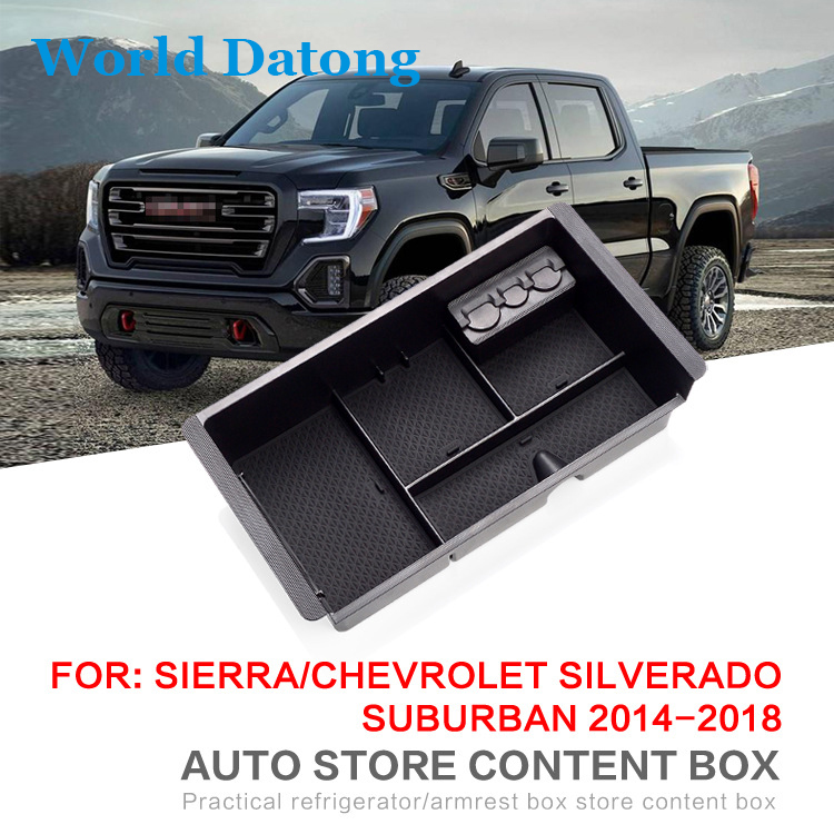 Upgrade New Armrest Storage Box Glove Box Tray Storage Box For Chevrolet Silverado 2014 2018 Central Car Console StorageBox in Stowing Tidying from Automobiles Motorcycles
