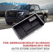 Upgrade New Armrest Storage Box Glove Tray For Chevrolet Silverado 2014~2018 Central Car Console StorageBox