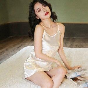 Image 2 - Camisón Sexy para mujer, ropa de dormir, camisón de cinturón Condole de seda sintética dormir en casa