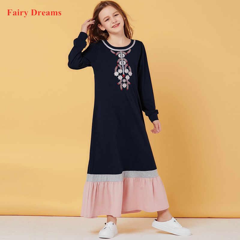 Bambini Abaya Dubai Turchia Bangladesh Giallo Lungo Abito Musulmano Per La Ragazza Abiti Maxi Caftano Turco Abbigliamento Islamico 2020 Abiti