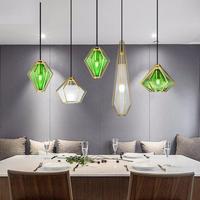 1 pc Glass Diamond pendant Light for Home Restaurant Bar lighting Green pendant lamp wedding lighting Mini E14 Led children lamp