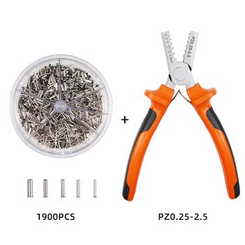 1900pcs 5 Size Cable Wire Terminal Connector with Hand Ferrule Crimper Pliers Crimp Tool Kit Set