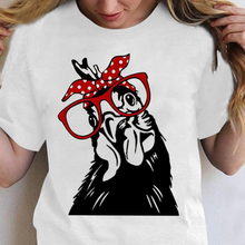 Cock with Red Glasses and Scraf Printed Funny T-shirts Women Summer Graphic Tee Aesthetic Shirts for Women Loose Ropa Mujer
