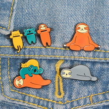 Adorable Cute Sloth Koala Cat Yoga Lazy Animal Flash Enamel Badge Brooch Lapel Pins Denim Shirt Bag Cartoon Jewelry Gift for kid(China)
