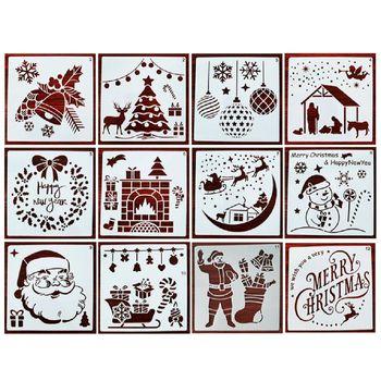 12 sztuk szablon szablonów świątecznych wielokrotnego użytku rzemiosło plastyczne na rysunek artystyczny malowanie natryskowe szyba okienna karoseria drzwi tanie i dobre opinie CN (pochodzenie) Christmas Letters 12 Pieces