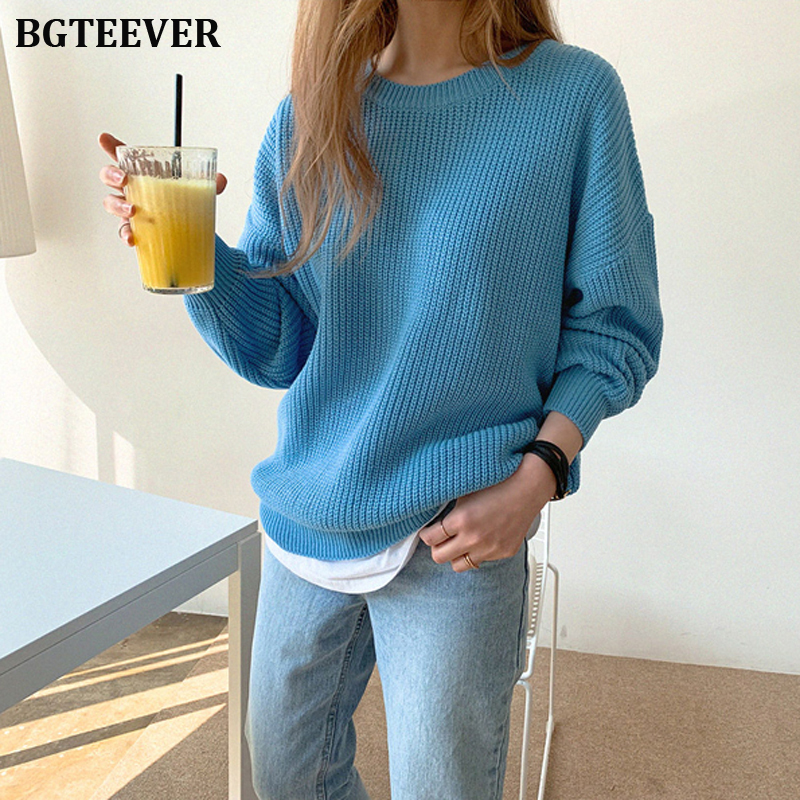 Chic Blue O-neck Loose Women's Sweater Full Sleeve Female Knitted Pullovers Autumn Winter Solid Knitting Tops Femme Elegant 2019