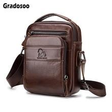все цены на Gradosoo Leather Small Bag Shoulder Bags For Men Messenger Bag Male Waterproof Crossbody Bags Men Handbag Travel Bags New LBF667 онлайн