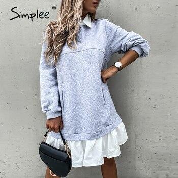 Simplee Casual Ruffle Dress Long sleeve loose straight dress Autumn Street Lapel fashion dress Fake two piece comfortable dress 9