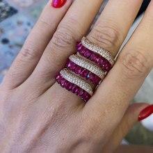GODKI 2019 Trendy kurtyna deszczowa Charms Cubic cyrkon kreatywny pierścionek dla kobiet obrączki wisiorek z koralikami pierścień czeski biżuteria plażowa