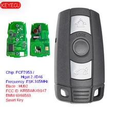 مفتاح KEYECU الذكي الكامل يعمل بدون مفتاح 315MHz/868MHz PCF7953 رقاقة لسيارات BMW CAS3 3/5 Series X5 2006 2011 KR55WK491