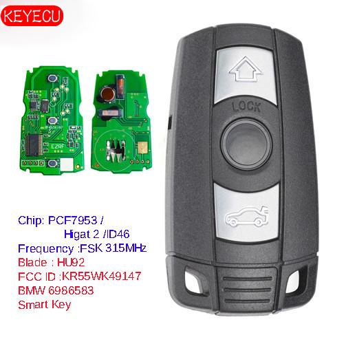 KEYECU Keyless ללכת פונקציה מלא אינטליגנטי מרחוק מפתח 315MHz/868MHz PCF7953 שבב עבור BMW CAS3 3/5 סדרת X5 2006 2011 KR55WK491