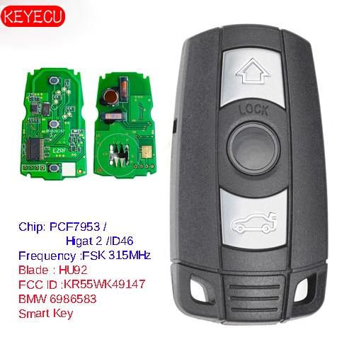 KEYECU Keyless-Go функция Полный Интеллектуальный удаленный ключ 315 МГц/868 МГц PCF7953 чип для BMW CAS3 3/5 серии X5 2006-2011 KR55WK491