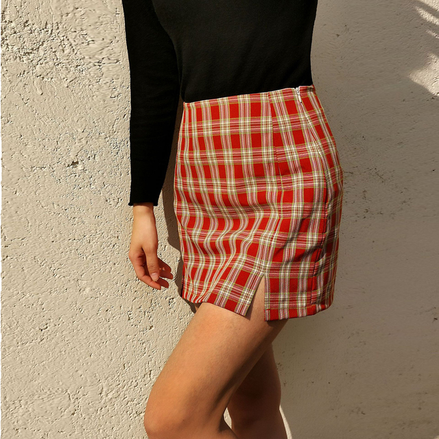 Jocoo Jolee Women Fashion Cotton Plaid Bodycon Skirt Spring Europe Style Split Elegant Chic Skirts High Waist Wild Bottom 3