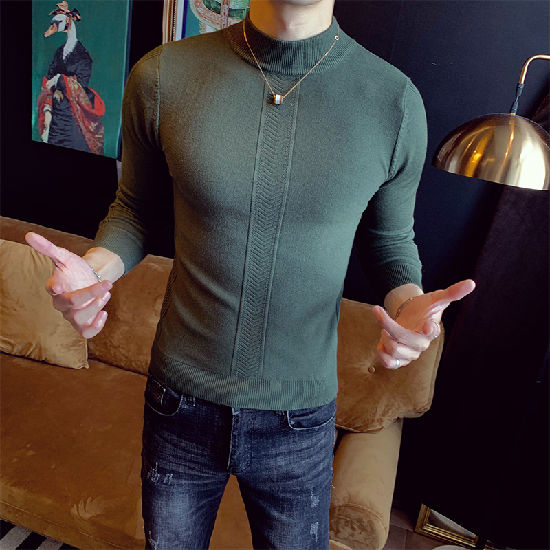 Mens Sweaters 2019 Slim Half-neck Collar Pullover Solid Color Long-sleeve Sweater Casual Men's Knitted Tops Clothing Erkek Kazak
