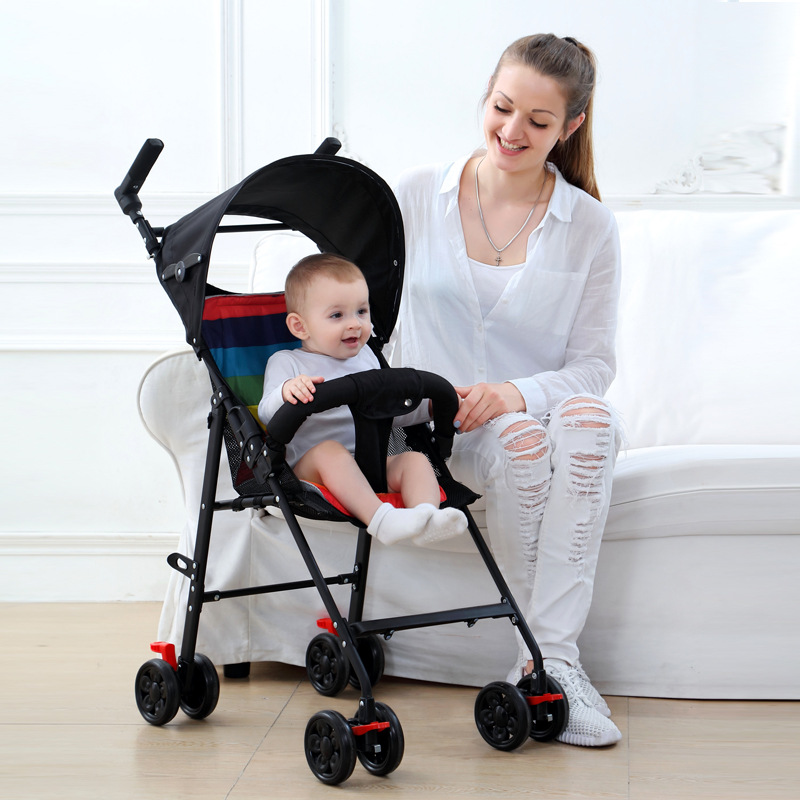Lightweight Baby Stroller Portable Small Child Hand Push Pocket Folding Can Sit and Lay One-button Baby Cart Infant Carriage