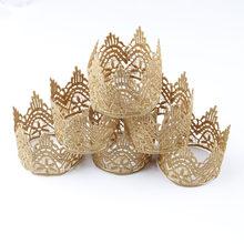 Nette 1PCS Khaki Spitze Häkeln Krone Verwendet für Kuchen Topper Baby Mädchen Party Stirnbänder Glänzende Tiara Headwear DIY Haar zubehör