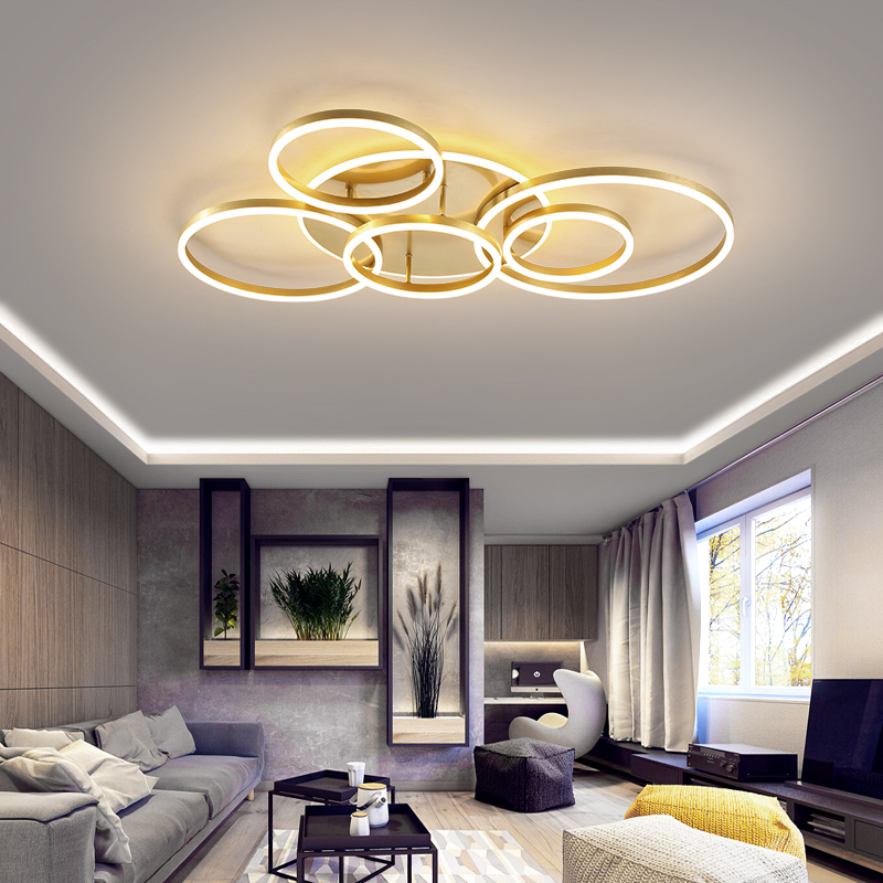 Remote Controller 2/3/5/6 Circle Rings Modern led Chandelier For living Room Bedroom Study Room White/Brown Color Chandelier