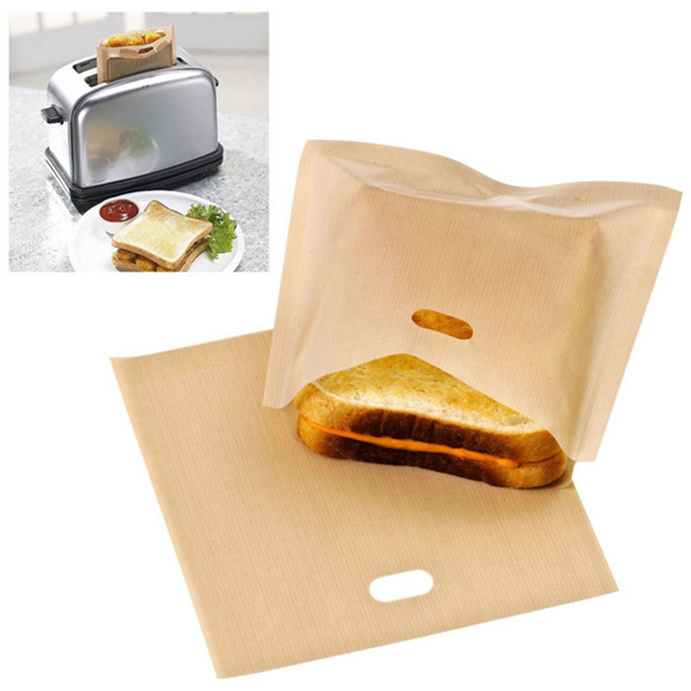 Toaster Bags for Grilled Cheese Sandwiches Made Easy Reusable Non-stick Baked Toast Bread Bags image