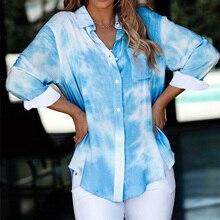 Галстук-краситель печати длинный рукав рубашки Женщин Осень однобортный отложным воротником женский рубашка к 2020 году новые случайные свободные дамы топ
