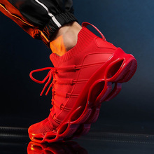 Light Soft Men Running Shoes Outdoor Sports Breathable Mesh Air Fabric 2019 Fashion Red Sneakers With Cushioning Pads Buffer li ning women s 2017 light smart running shoes cushioning lining breathable fabric sneakers comfort light sports shoes arkm024