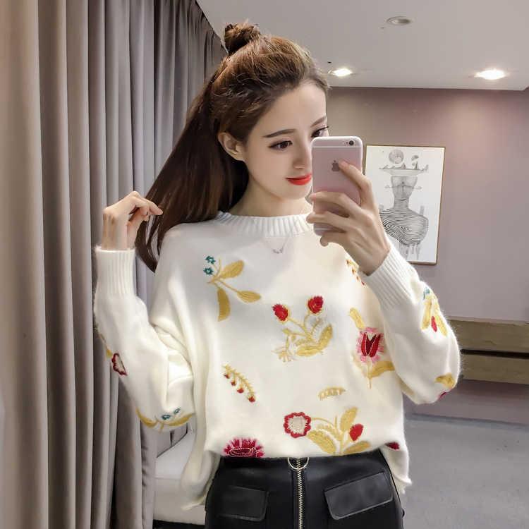 니트 스웨터 봄 2020 가을 새로운 한국어 자 수 라운드 목 풀오버 패션 귀여운 스웨터 Shein 여성 탑 스웨터 866J