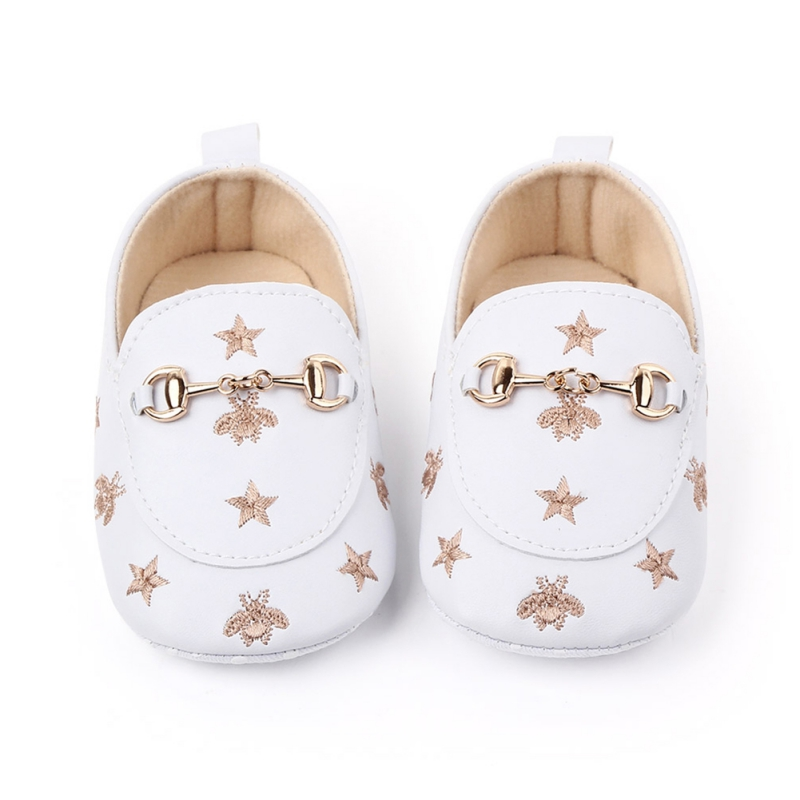 1Pair Baby Girl Infant Cute Fashion Pentagram Pattern Shoes Peas Shoes Baby PU Leather Baby Shoes Soft Bottom Toddler Shoes