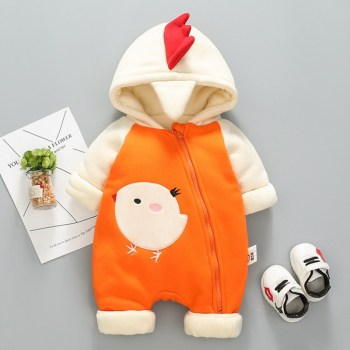 New Yellow Chicken Baby Romper Jumpsuit Fleece Hooded Winter Snowsuit Baby Overalls Hooded Coat Outwear iyeal newborn baby snowsuit children infant winter coat warm liner hooded zipper jumpsuit boys girls duck down outwear overalls