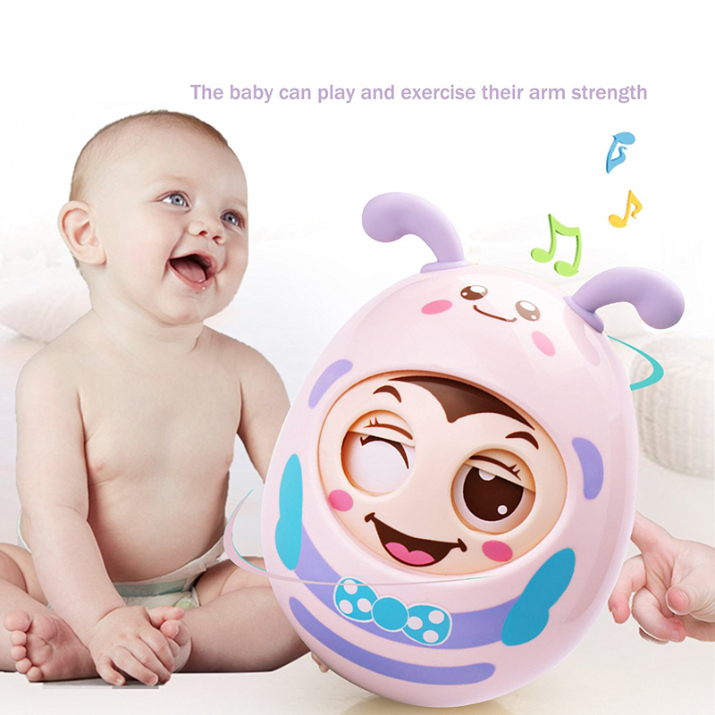 Baby Rattles Mobile Doll Bell Blink Eyes Tumbler Roly-poly Silicon Teether Toy Fun For Newborns Gift Baby 0-12 Months Toys