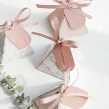 Подарочная коробка зеленая треугольная пирамида мраморная коробка для конфет Свадебные сувениры и подарки упаковка шоколадные коробки Де...