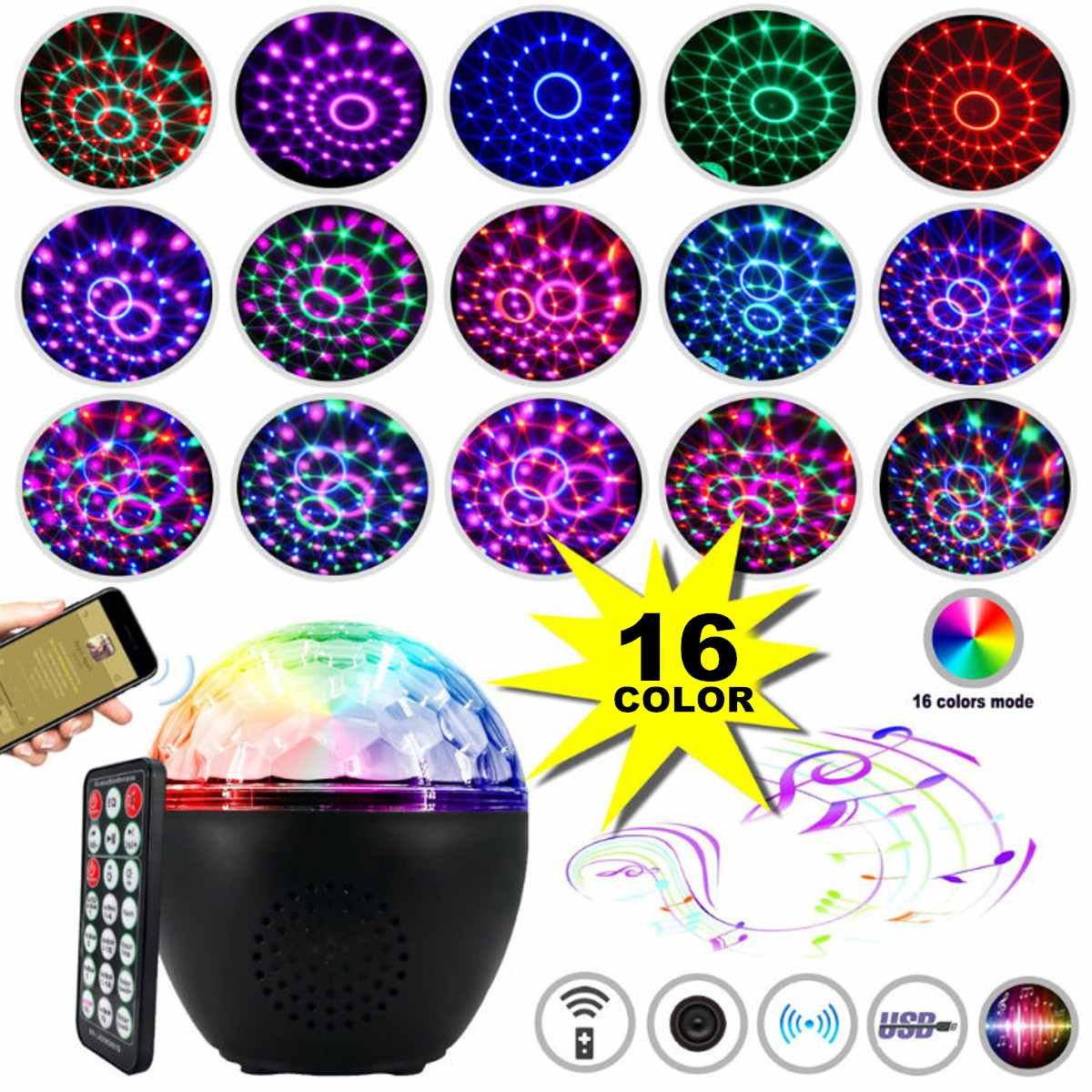 16 Colors Party Lights Disco Ball USB Projector Dj Lights Sound Activated Rotating Party Lamp Strobe Light With Remote Control|Stage Lighting Effect| |  - title=