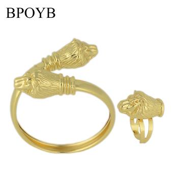 BPOYB 2021 New High Fashion dubaj afrykańskie złoto zestaw biżuterii kolor komunikat bransoletka z lwem pierścionki dla kobiet luksusowe Bijoux tanie i dobre opinie Miedzi CN (pochodzenie) Kobiety Metal TRENDY Bracelet Ring Bransoletki pierścień Moda CS0001 Zestawy biżuterii Party