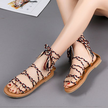 2019 Summer Women Sandals Fashion Gladiator Shoes Female Flat Rome Style Cross Tied 35-43